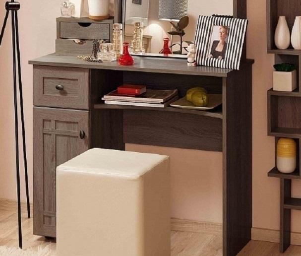 Стол туалетный Sherlock 53+ трюмо с ящиками 55 (ясень анкор темный)