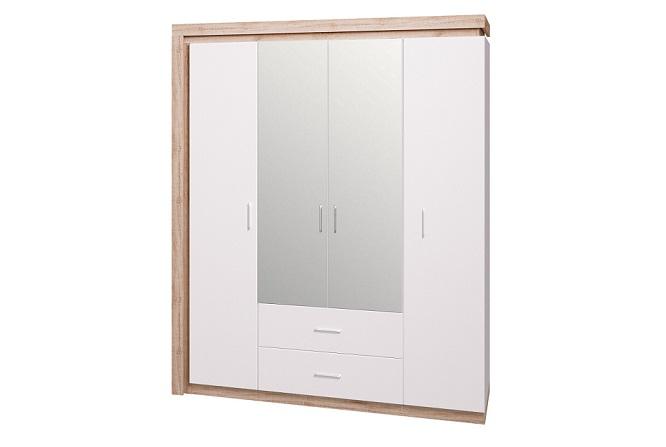 Шкаф для одежды четырехдверный с зеркалом Люмен №16