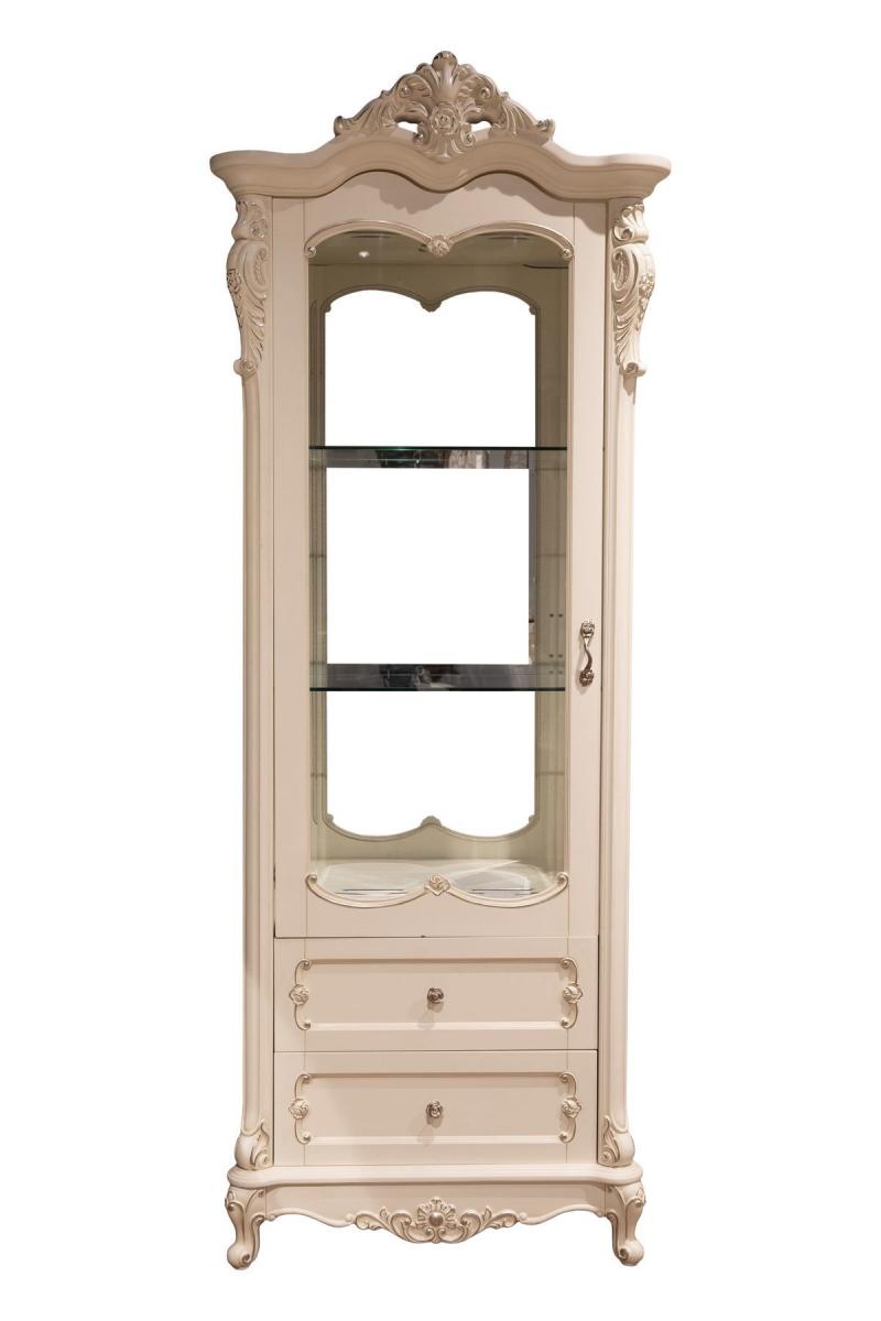 Витрина Глория MK-2715-WG 1-дверная левая (цвет патины: золото) 88х46х227 см Молочный