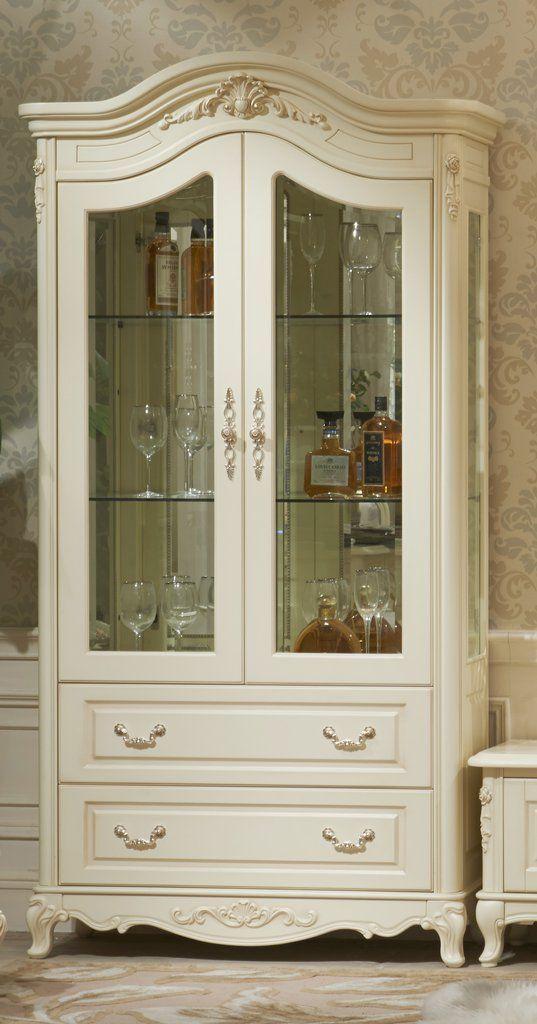 Витрина Милано 8803-В MK-1841-IV 2-дверная (цвет патины: золото) 110х46х215 см Слоновая кость