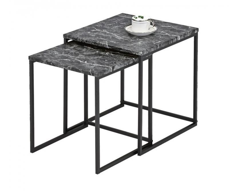Комплект MK-6349-GR из 2 столиков 40х40х43 см Серо-черный