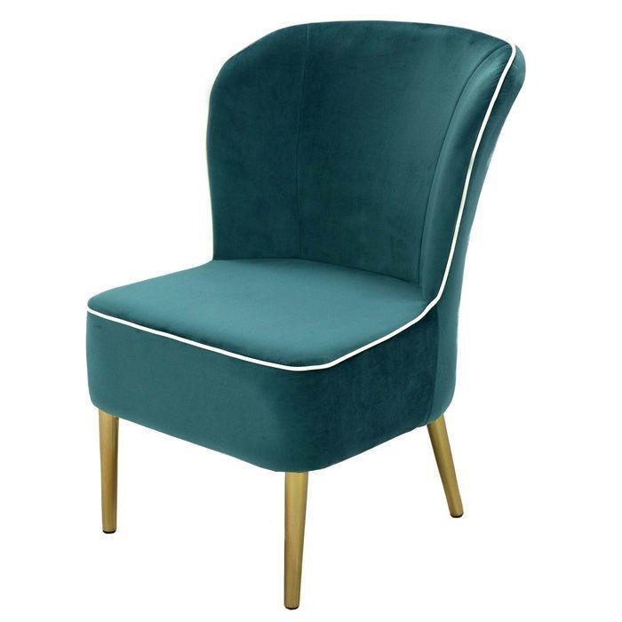Кресло MK-5643-DB золотые ножки 57х67х84 см Темно-бирюзовый