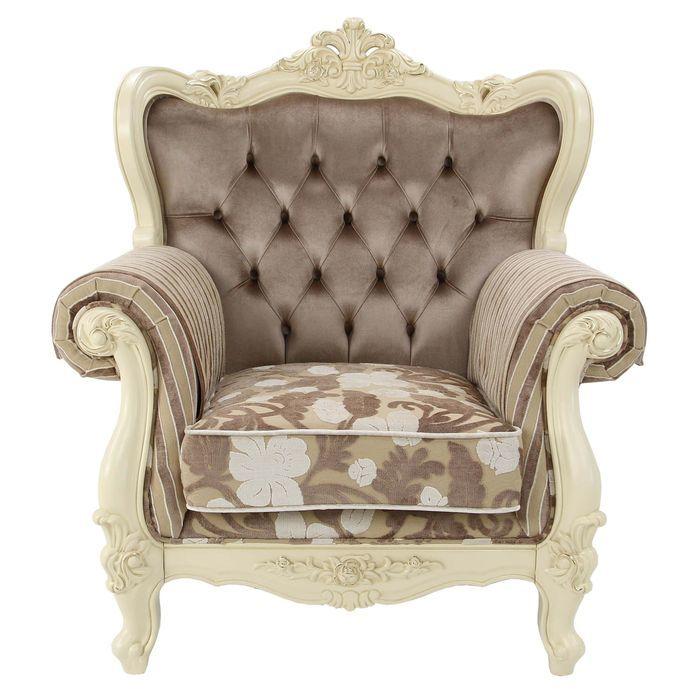 Кресло Милано 8802-А MK-1828-IV (цвет патины: золото) 116х90х115 см Слоновая кость