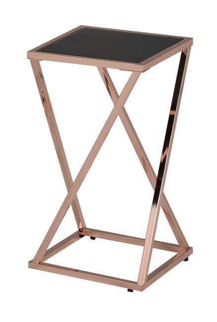 Подставка под цветы MK-2380-S-RG малая с чёрной стеклянной столешницей 30х30х55 см Розовое золото