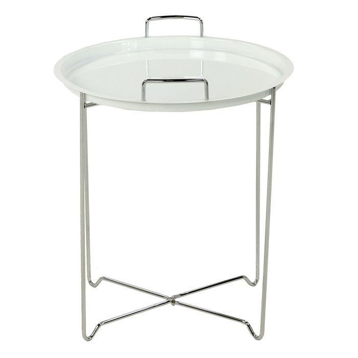 Столик кофейный MK-2387-WT складной 45х45х51 см Белый/хром