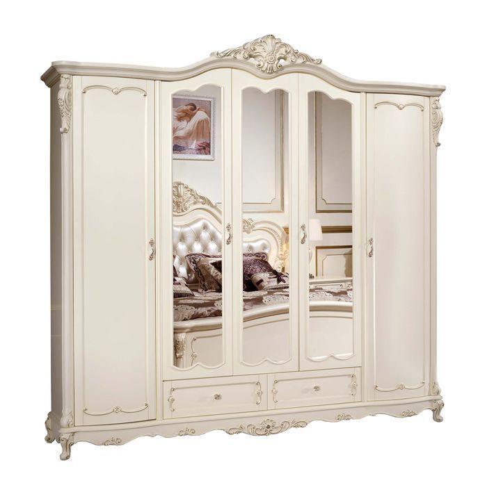 Шкаф Глория MK-2729-WG 5-дверный с зеркалами 256х64х250 см Молочный