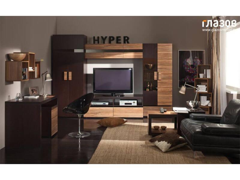 Вместительная стенка HYPER 1 с письменным столом для гостиной