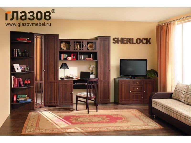 Стенка Sherlock 3 с угловым шкафом и с письменным столом для гостиной