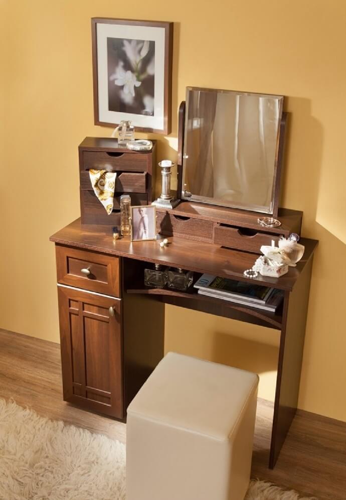Стол туалетный Sherlock 53+ трюмо с ящиками 55 (орех шоколадный)
